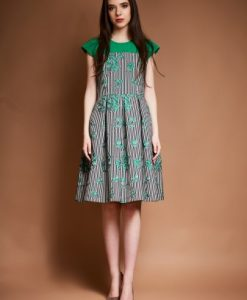 Rochie de zi cu imprimeu in dungi si floral DOINA-V alb-verde - Rochii de zi -