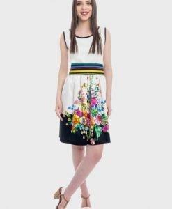 Rochie de zi cu imprimeu si brau multicolor ADRIANA alb - Rochii de zi -