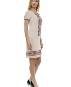 Rochie de zi cu imprimeu traditional RO163 bej - Rochii de zi -