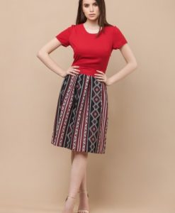 Rochie de zi cu imprimeu traditional RO184 rosu - Rochii de zi -