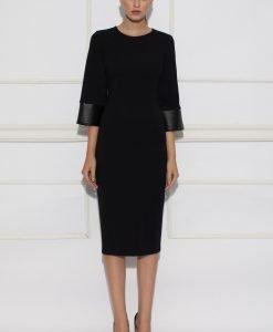 Rochie de zi cu insertie de piele Negru - Imbracaminte - Imbracaminte / Rochii de zi