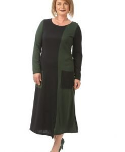 Rochie de zi cu maneca lunga R097-M bleumarin-verde - Marimi mari -