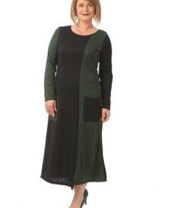 Rochie de zi cu maneca lunga R097 bleumarin-verde - Rochii de zi -
