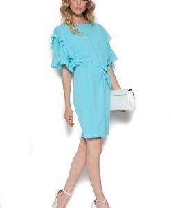 Rochie de zi cu maneci din volane Albastru - Imbracaminte - Imbracaminte / Rochii de zi