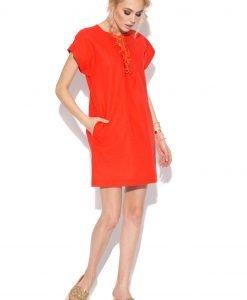 Rochie de zi din in cu buzunare Rosu - Imbracaminte - Imbracaminte / Rochii de zi