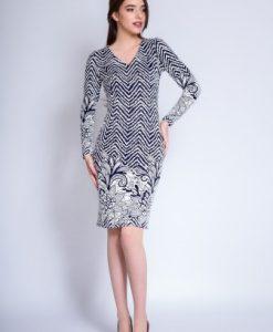 Rochie de zi din tricot cu maneca lunga VALERIA ivoire/ bleumarin - Rochii de zi -