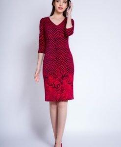 Rochie de zi din tricot cu maneca lunga VALERIA rosu/ bleumarin - Rochii de zi -