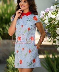 Rochie din in cu dungi si flori brodate - ROCHII -