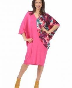 Rochie din vascoza roz R107S-M - Marimi mari -