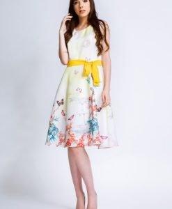 Rochie eleganta alba cu imprimeu multicolor OANA-A - Rochii de seara -