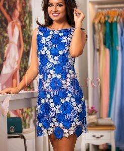Rochie eleganta albastra cu flori din dantela brodata - ROCHII -