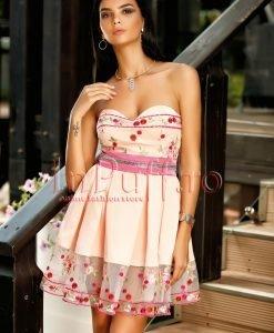 Rochie eleganta baby-doll rose cu broderie florala - ROCHII -