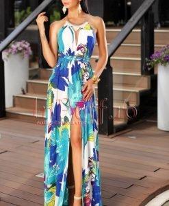 Rochie eleganta colorata de vara accesorizata cu colier la gat - ROCHII -