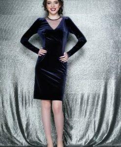 Rochie eleganta conica cu maneca lunga din catifea EVA bleumarin - Rochii de seara -