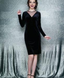 Rochie eleganta conica cu maneca lunga din catifea EVA negru - Rochii de seara -