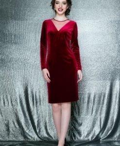 Rochie eleganta conica cu maneca lunga din catifea EVA rosu - Rochii de seara -
