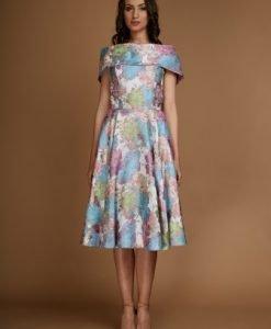 Rochie eleganta cu guler aplicat din matase naturala MONICA-M - Rochii de seara -