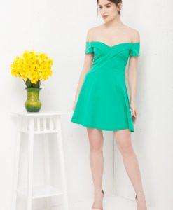 Rochie eleganta cu umerii goi R010 verde - Rochii de seara -