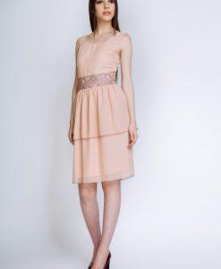 Rochie eleganta cu volane PETRA roz prafuit - Rochii de seara -