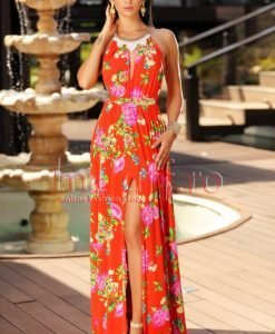 Rochie eleganta de vara rosie accesorizata cu colier la gat - ROCHII -