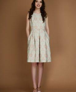 Rochie eleganta din brocart SABRINA-V verde - Rochii de seara -
