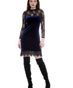 Rochie eleganta din catifea si dantela AM-21702115 bleumarin - Rochii de seara -