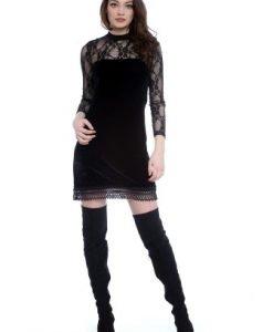 Rochie eleganta din catifea si dantela AM-21702116 negru - Rochii de seara -