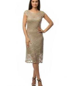 Rochie eleganta din dantela CSF-120 crem - Rochii de seara -