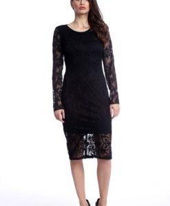 Rochie eleganta din dantela cu maneca lunga AM-21611110 negru - Rochii de seara -