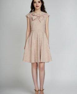 Rochie eleganta in clos RUXANDRA roz prafuit - Rochii de seara -