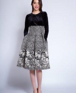 Rochie eleganta in clos cu buzunare CLARA negru/ ivoire - Rochii de seara -