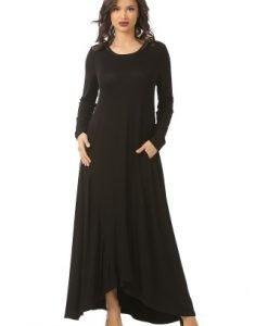 Rochie eleganta lunga R089-M negru - Marimi mari -