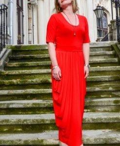 Rochie eleganta lunga cu falduri R013L-RO rosu - Marimi mari -