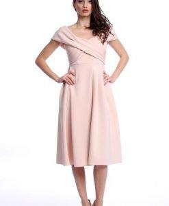 Rochie eleganta midi cu maneca scurta AM-21611103 roz - Rochii de seara -