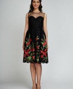 Rochie eleganta neagra cu dantela brodata cu maci BEATRICE-N - Rochii de seara -