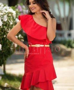 Rochie eleganta rosie cu volane - ROCHII -