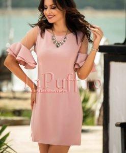 Rochie eleganta roz pudra cu volans la maneca - ROCHII -