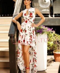 Rochie eleganta scurta din voal cu imprimeu floral si trena - ROCHII -