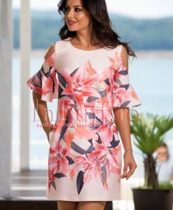 Rochie eleganta somon cu imprimeu floral - ROCHII -