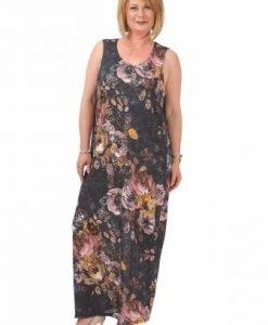 Rochie gri cu imprimeu floral R111-F-M - Marimi mari -