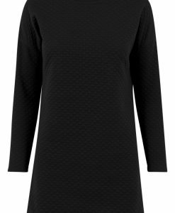 Rochie larga cu model matlasat si maneca lunga pentru Femei negru Urban Classics - Rochii si fuste - Urban Classics>Femei>Rochii si fuste