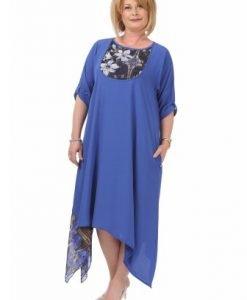 Rochie lejera cu imprimeu R094-AM albastru - Marimi mari -