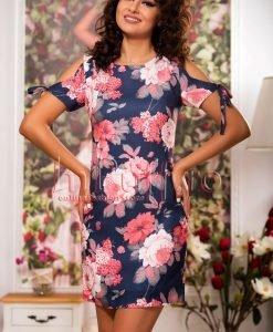 Rochie lejera de vara din in cu imprimeu floral - ROCHII -