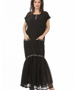 Rochie lunga cu broderie R118-NRM negru - Marimi mari -
