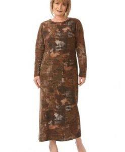 Rochie lunga cu imprimeu abstract R104-M maro - Marimi mari -