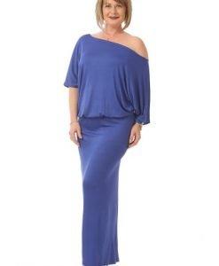 Rochie lunga cu maneca cazuta R082-MA albastru - Marimi mari -