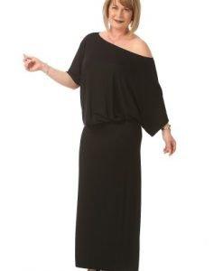 Rochie lunga cu maneca cazuta R082-MN negru - Marimi mari -