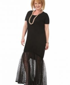 Rochie lunga cu tulle R118-M negru - Marimi mari -