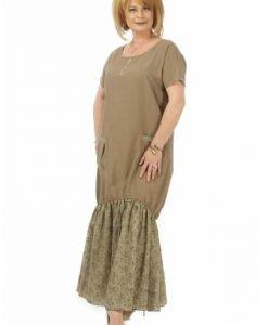 Rochie lunga cu volan imprimat R118-OM olive - Marimi mari -