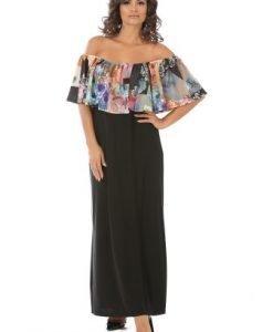 Rochie lunga de seara cu imprimeu floral R083 negru - Rochii de seara -